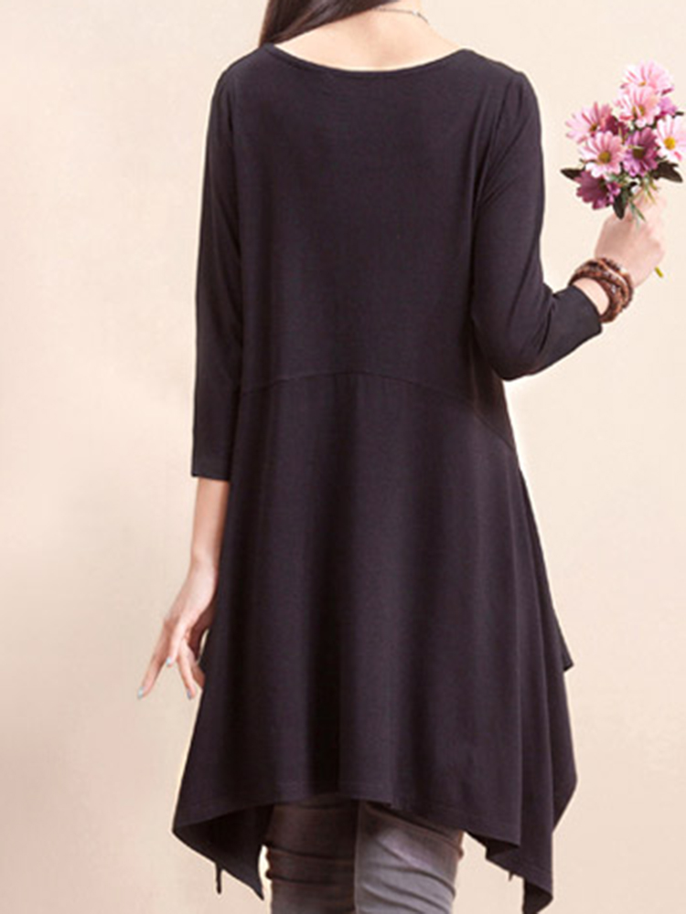 O-NEWE L-5XL Casual Women Solid Color Hem Asymmetric Dress