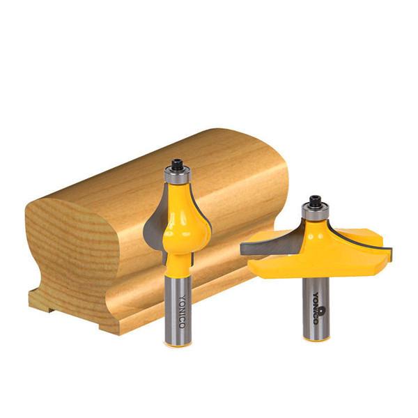 2pcs 1/2 Inch Shank Door Handrail Router Bit Set Woodworking Cutter Tool Set