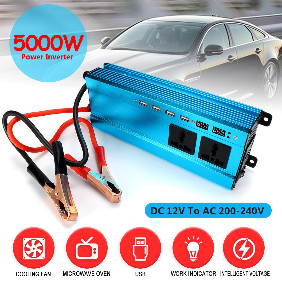 5000W Peak DC 12V/24V to AC 220V Solar Power Inverter LED Modified Sine Wave Converter