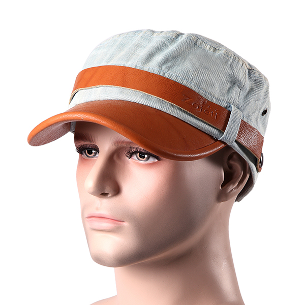 Men Women Denim Leather Baseball Hats Military Flap Top Caps
