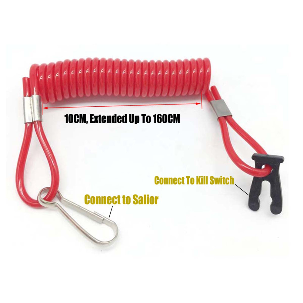 Marine Boat Kill Stop Switch Tether Red Cord Lanyard For Suzuki Outboard Engine Motorboat