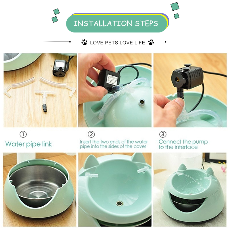 Automatic Pet Cat Dog Electric Water Fountain Water Dispenser Drinking Bowl Tank