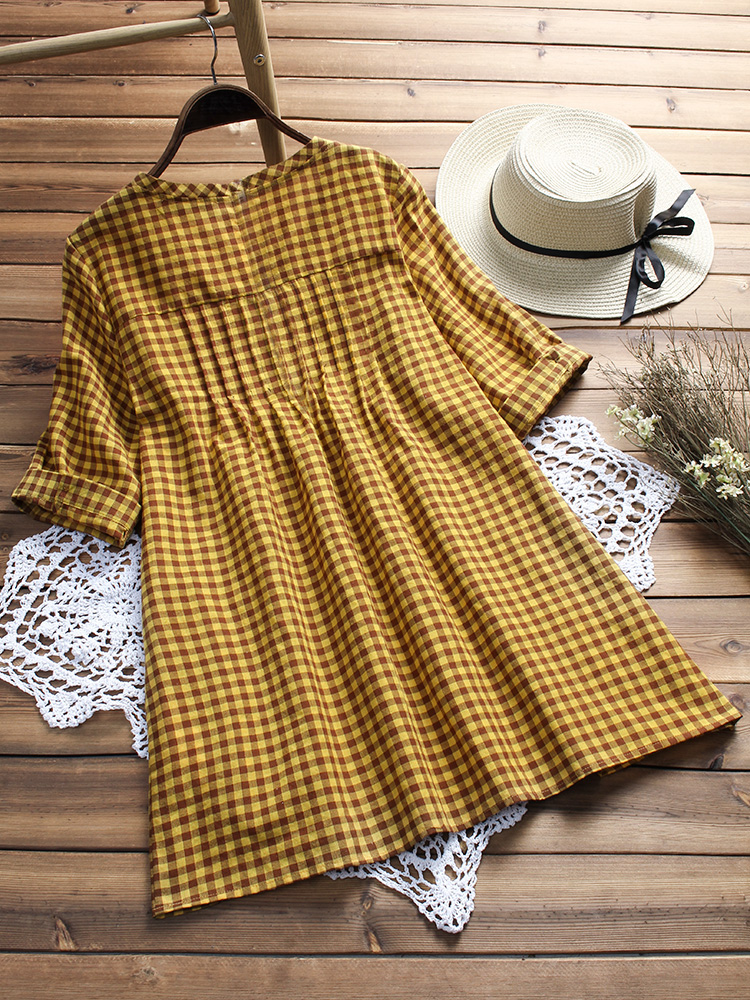 Vintage Half Sleeve O-neck Plaid Blouse