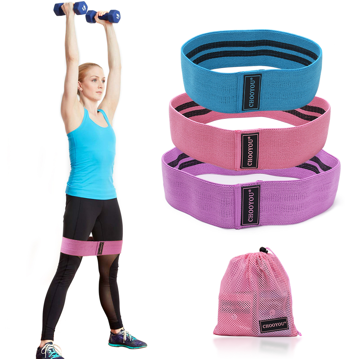 3pcs Booty Resistance Bands Set Loop Hip Booty Legs Exercise