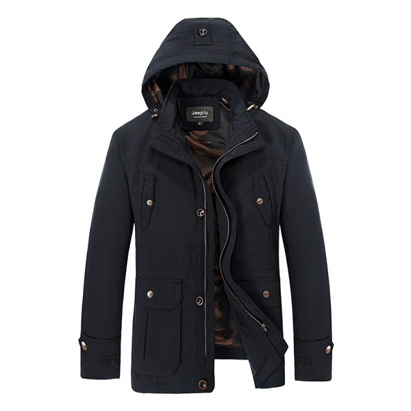 Mens Fashion Casual Outdoor Windproof Solid Color Hooded Detachable Jacket Autumn Coat
