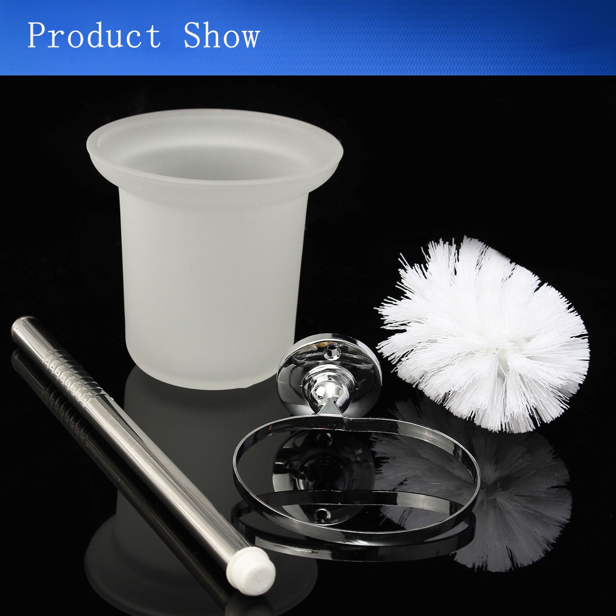Wall Mounted Frosted Glass Toilet Cleaning Brush Holder Set Bathroom Accessary