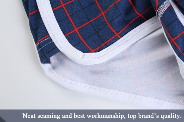WANGJIANG Mens Cotton Low Rise Plaid Boxers U Convex Pouch Sexy Letters Printed Waistband Underwear