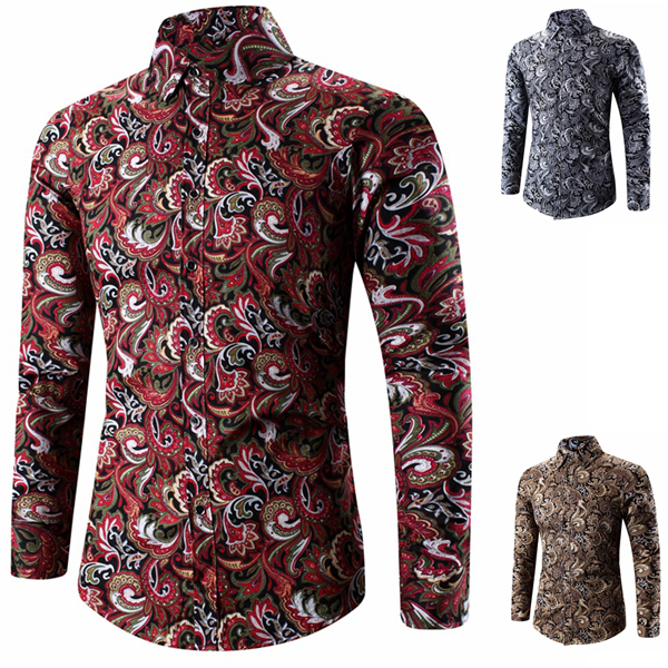 Mens Fashion Slim Fit Printing Long Sleeve Turn-down Collar Casual Shirt Plus Size