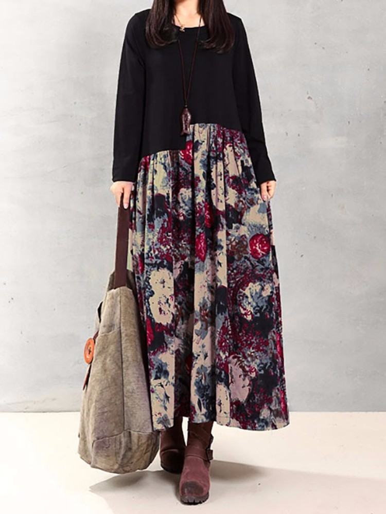 S-5XL Floral Printed Patchwork Maxi Dress