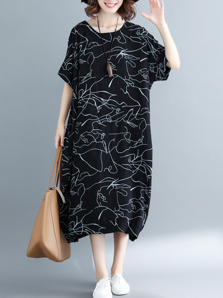 Women Casual Patchwork O-neck A-line Loose Dress