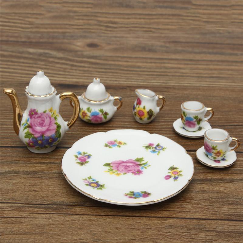 8pcs Porcelain Vintage Tea Sets Teapot Coffee Retro Floral Cups Doll House Decor Toy