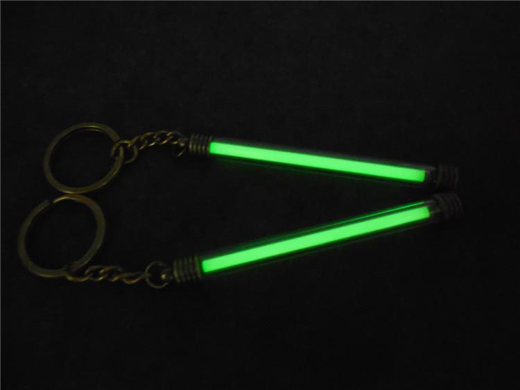 Copper + Acrylic Tritium Vials Keychain Self-luminous 15-Years 5x80mm