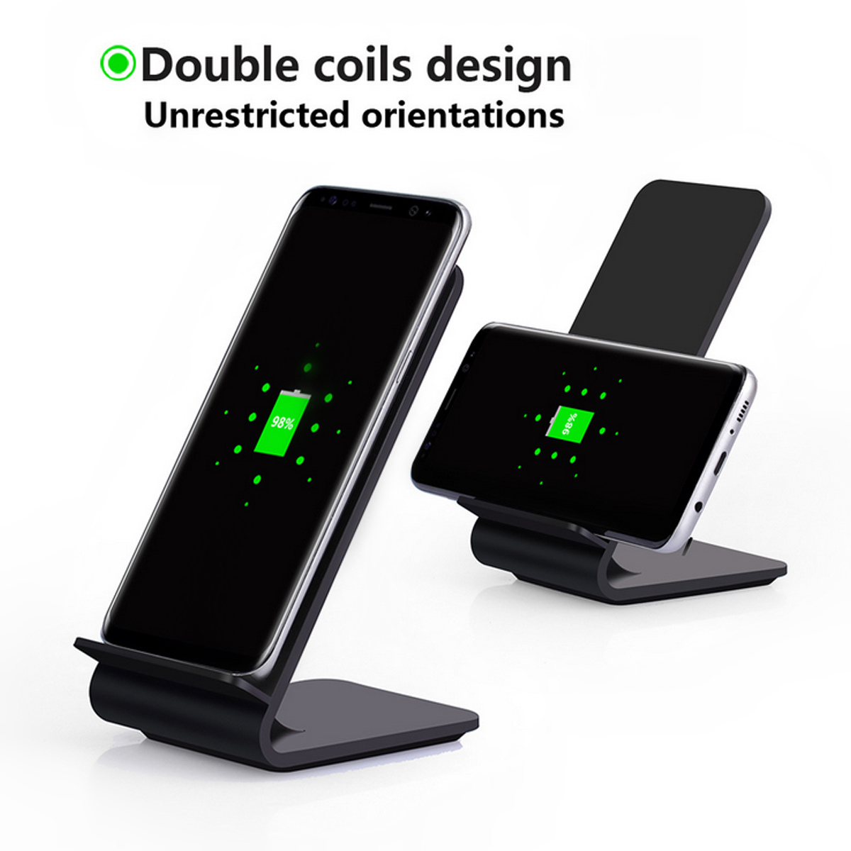Bakeey A8 10W Fast Charging QC2.0/3.0 Qi Wireless Desktop LED Charger Stand for Samsung S8 iPhone 8