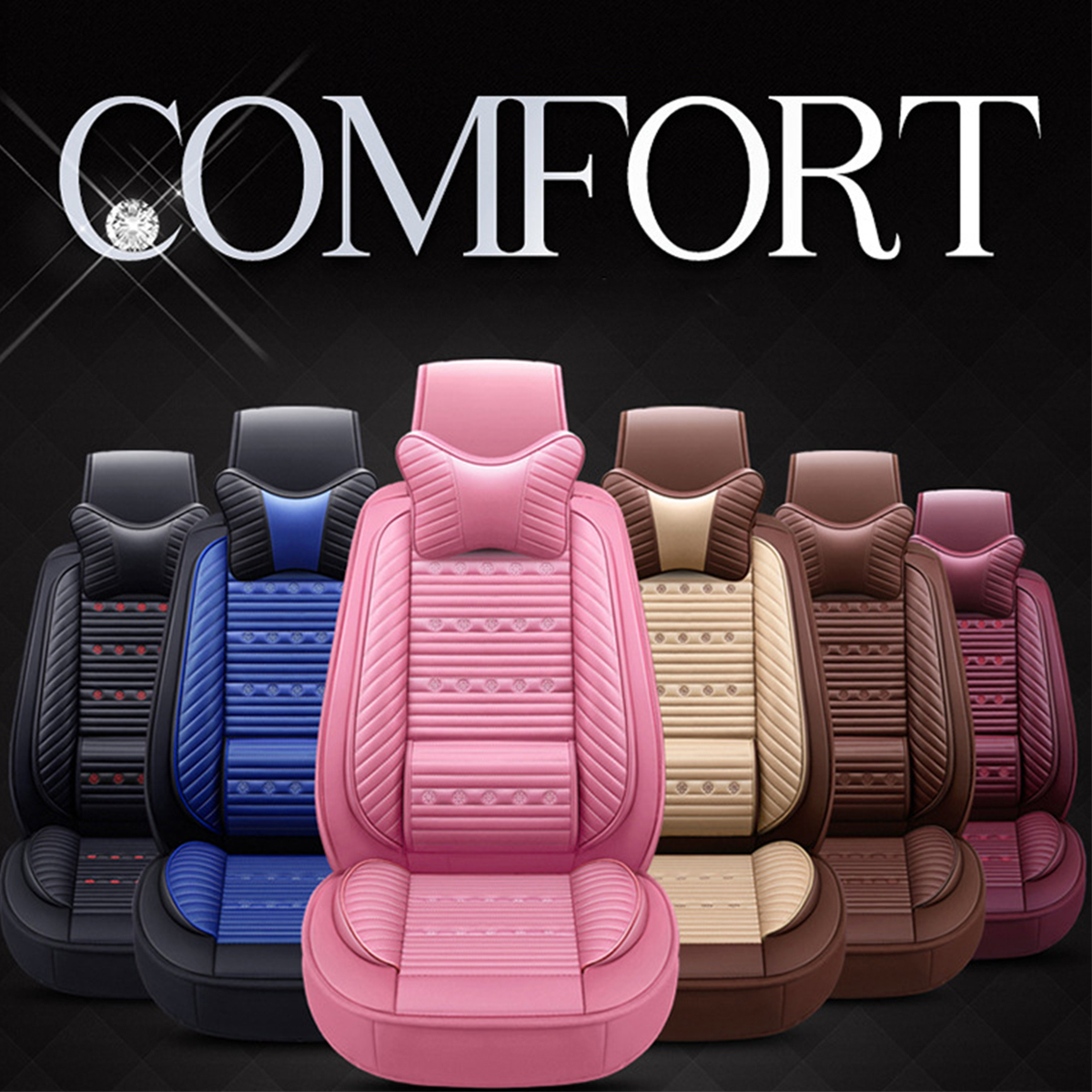 PU Leather Car Front and Back Seat Cover Cushion Protector with Pillow Universal for Five Seats Car