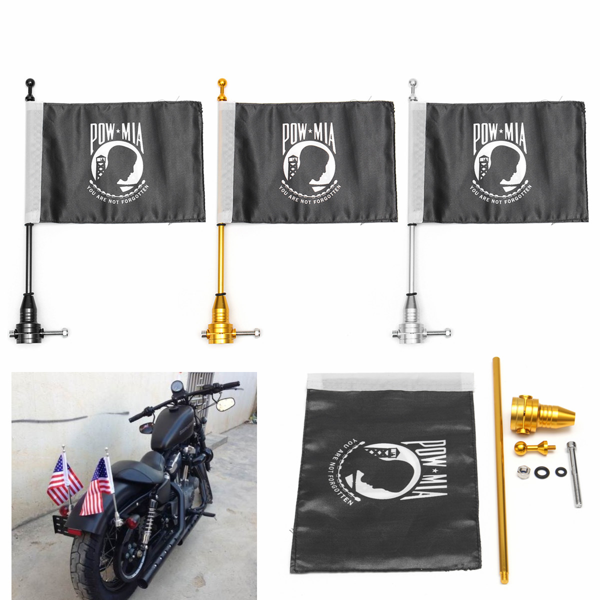 7.28inch x 10.82inch​ Motorcycle Flag Pole Mount Flag For Harley Davidson Luggage Rack