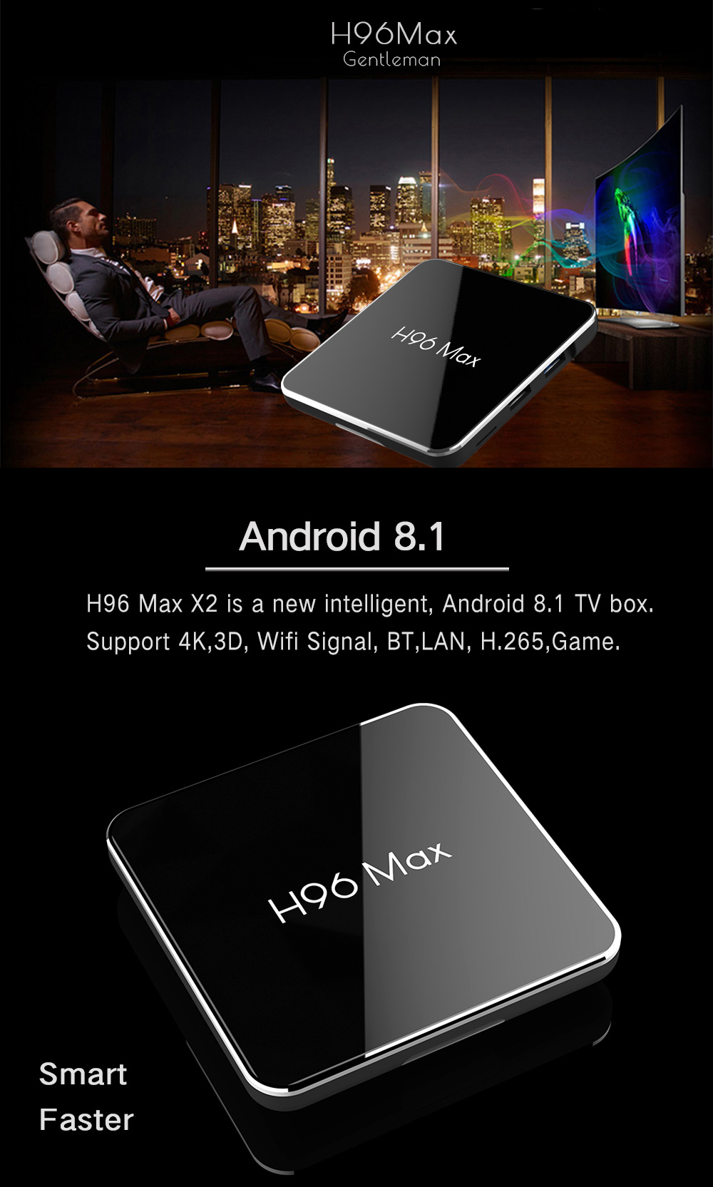 H96 Max X2 S905X2 4GB DDR4 RAM 64GB ROM 4K Android 8.1 5G WiFi USB3.0 TV BOX