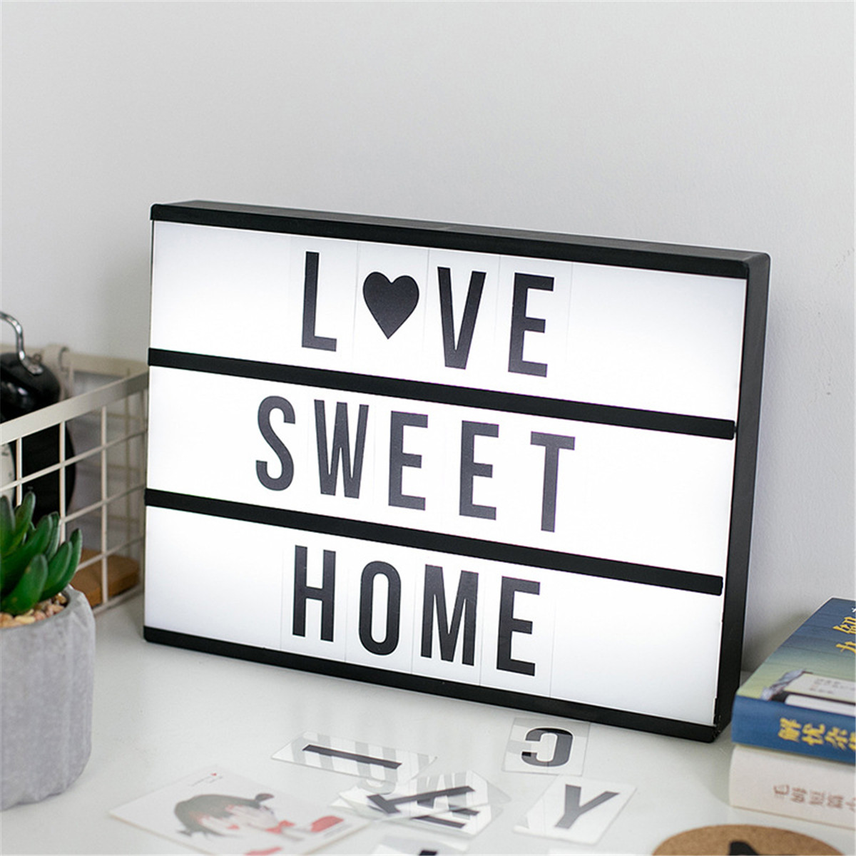 141 Letters A4 Cinematic Cinema Light Up Letter Box Sign Light Box Wedding Party Baby Toys