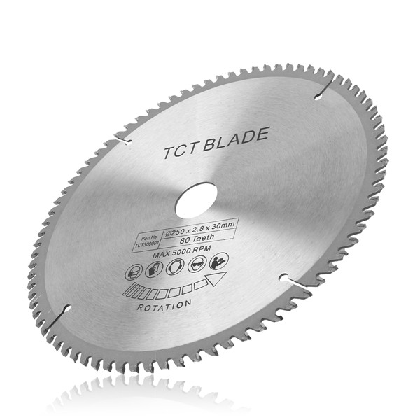 250mm 80T High Speed Steel TCT Circular Saw Blade 30mm Bore Blade for 255mm Saws