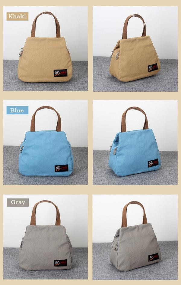 Women Canvas Casual Daily Double Zipper Layer Capacity Handbag