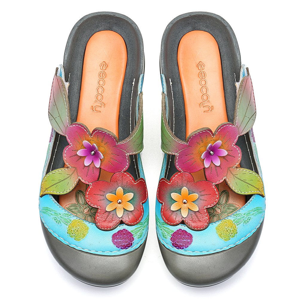 SOCOFY Retro Genuine Leather Flowers Pattern Sandals