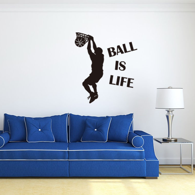 1PC Hot Sale Wallpaper Ball Is Life Playing Basketball Sport Wall Sticker for Kids Rooms Mural Decor Decal Removable PVC New Waterproof Movement Is Life Wall Sticking Poster