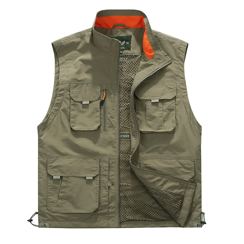 Outdoor Utility Plus Size Multi Pockets Mesh Breathable Vest
