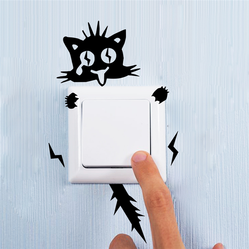 Honana Shocked Electric Cat Switch Sticker Funny Cartoon Decorative Wall Decals Mural Art Posters Vinyl DIY Home Wall Sticker Decoration