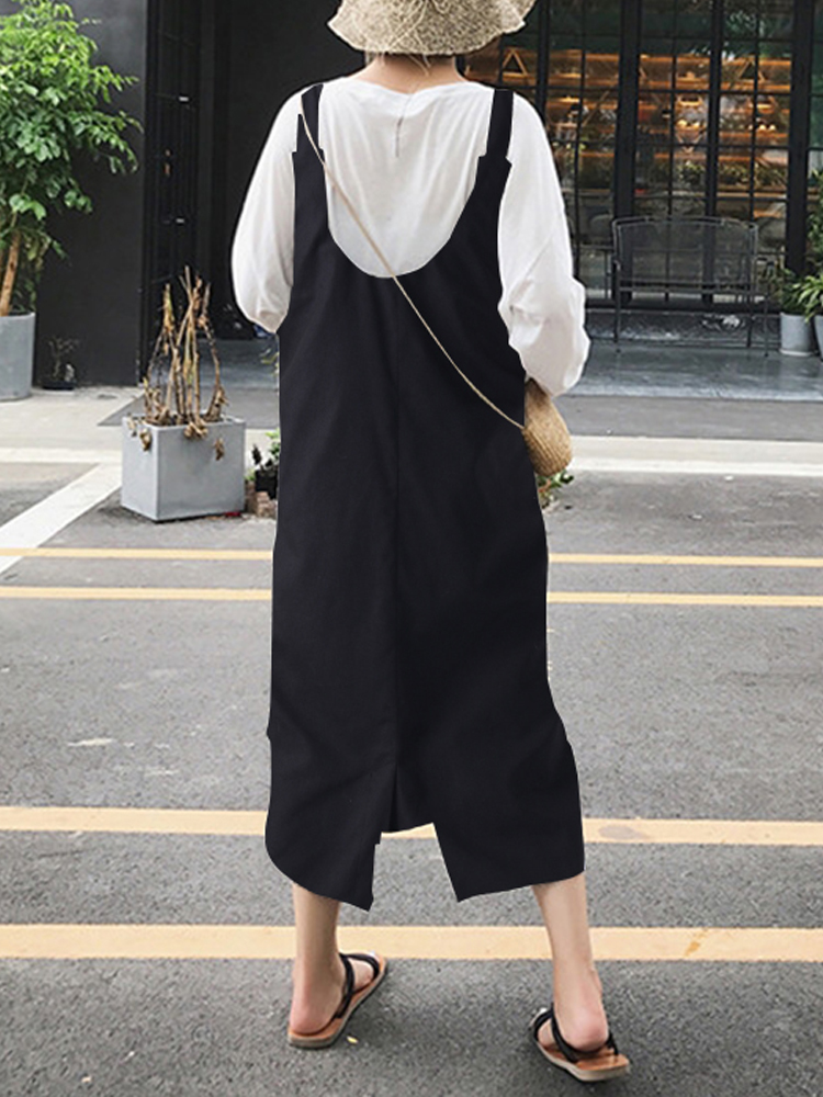 Women Sleeveless Strap Comfy Pure Color Loose Cotton Mid-calf Dresses