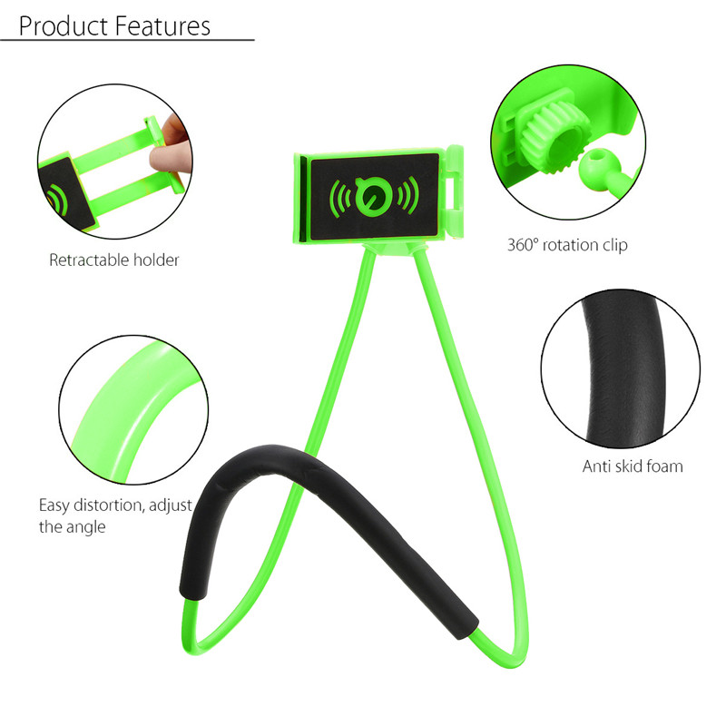 Universal Hanging Neck Long Arm 360 Degree Rotation Lazy Phone Holder for Samsung Xiaomi