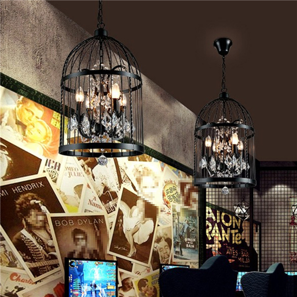 4 Head Black Bird Cage Crystal Chandelier Lamp Ceiling Pendant Lighting Fixtures AC85-240V