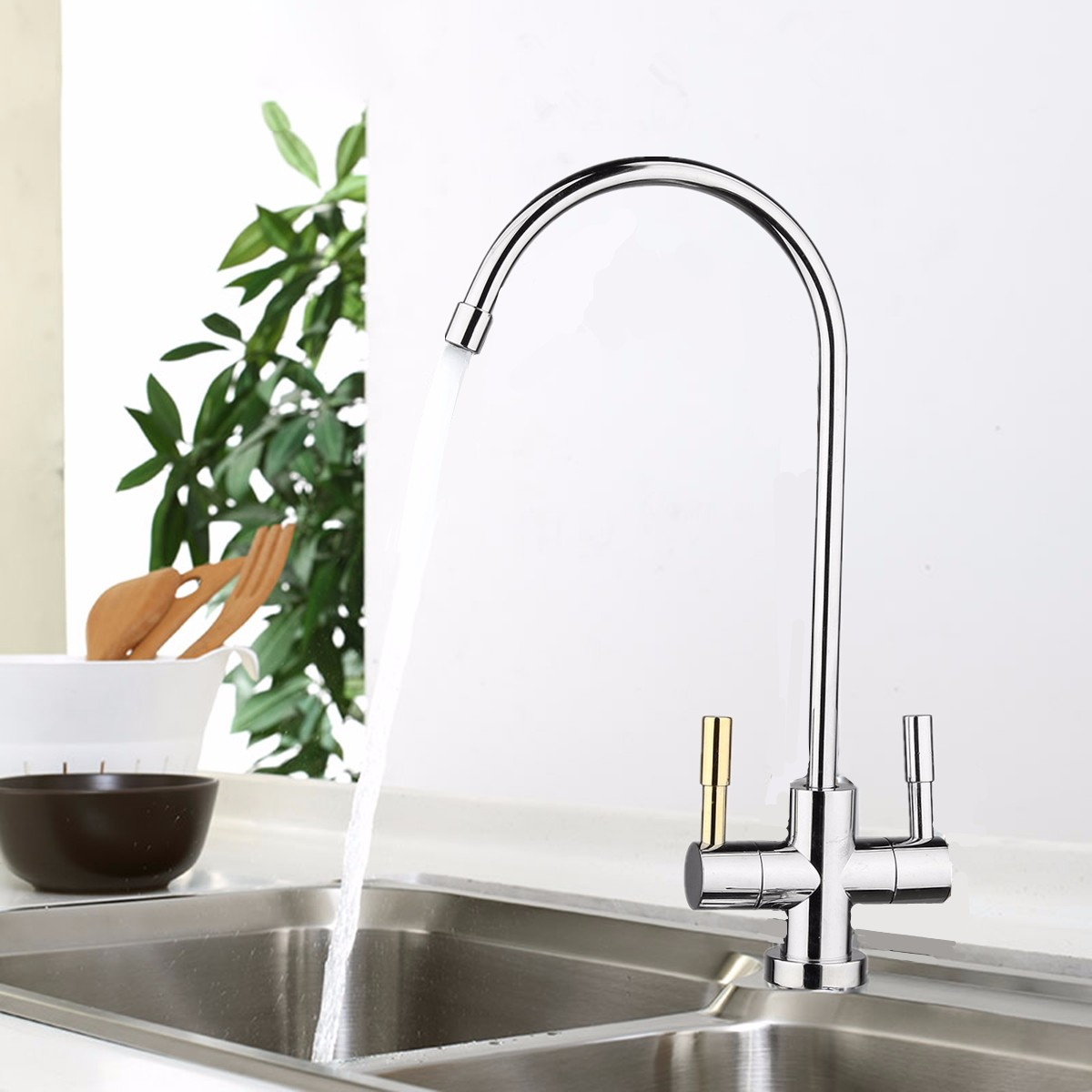 1/4'' Double Holes Chrome RO Reverse Osmosis Kitchen Sink Drinking Water Filter Neck Faucet