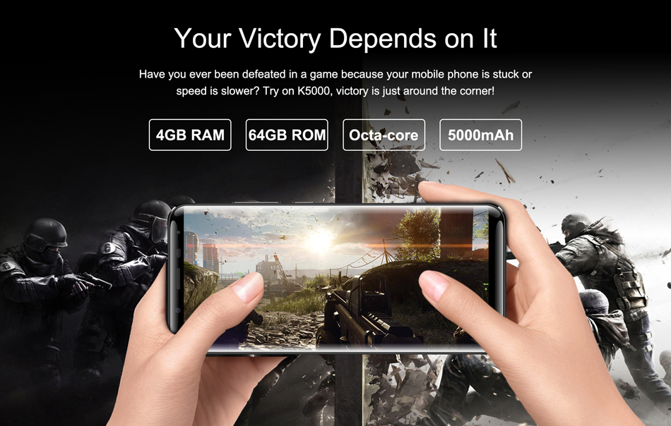 Oukitel K5000 5.7 Inch HD+ 4GB RAM 64GB ROM MT6750T Octa-Core 5000mAh Big Battery 4G Smartphone