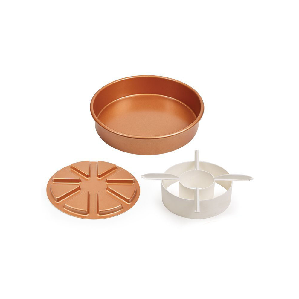 Cake Pan 3ps Set Non-stick Cake Pan With 2 Magic Middle Pockets and 2 Magic Middle Cake Cutters
