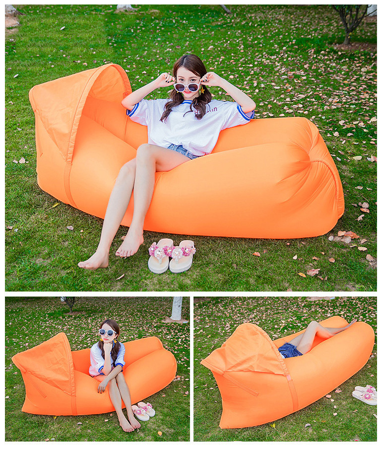 IPRee® Upgraded Portable Beach Lazy Sofa 210D Oxford Fast Air Inflatable Sleeping Bed With Sunshade Cap Max Load 100kg