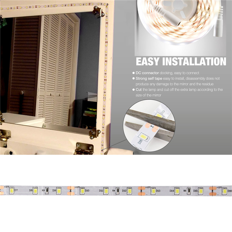 4m Smd2835 Dimmable Non Waterproof White Vanity Mirror Led Strip