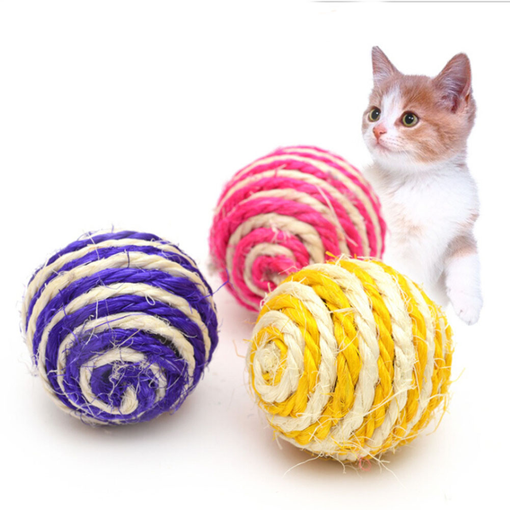 Pets Cats Dogs Toy Sisal Ball Kitten Teaser Playing Chew Scratch Pet Toys Diameter 5cm Color Random