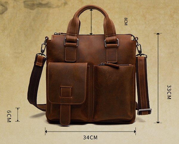 Men Genuine Leather Retro Handbag Crossbody Bag Casual Business Shoulder Bag Briefcase
