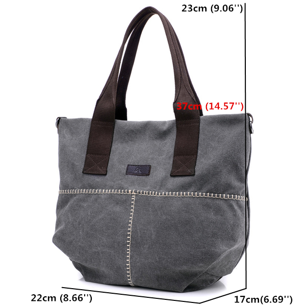 Women Durable Canvas Big Capacity Shoulder Bags Simple Crossbody Bags