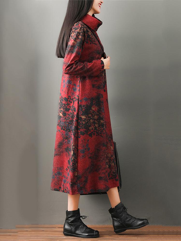 Vintage Long Sleeve High Collar Floral Print Mid-long Dress