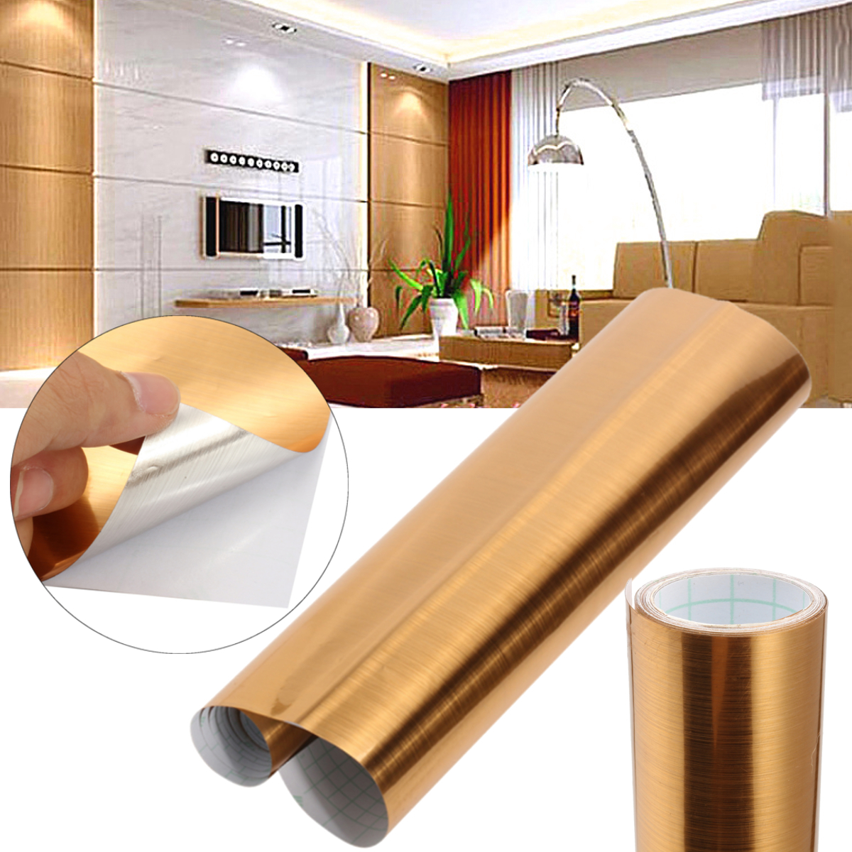 Gold Brushed Wallpaper Contact Paper Self Adhesive Wall Furniture Sticker Decor 61cm x 2m