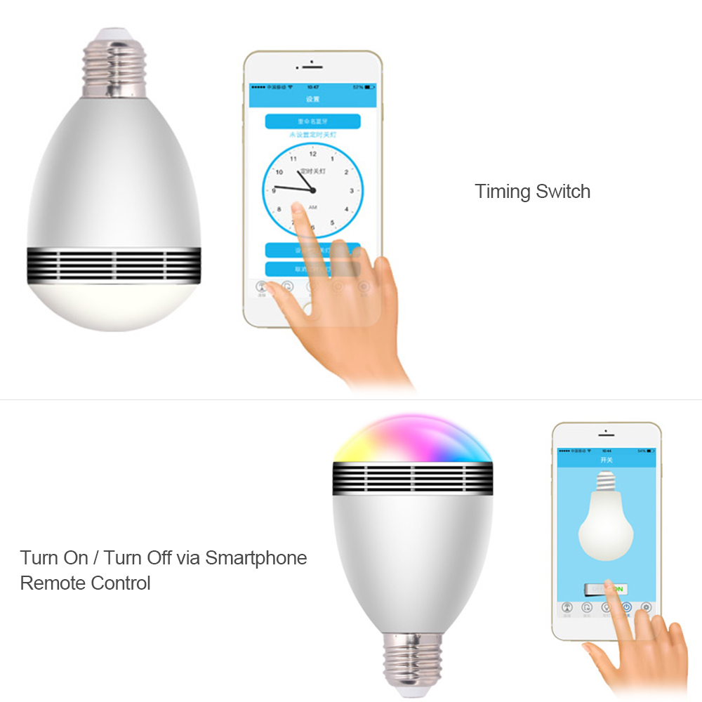 AC100-240V 9W E27 Wireless bluetooth Speaker LED Smart Light Bulb Color Changing for Home