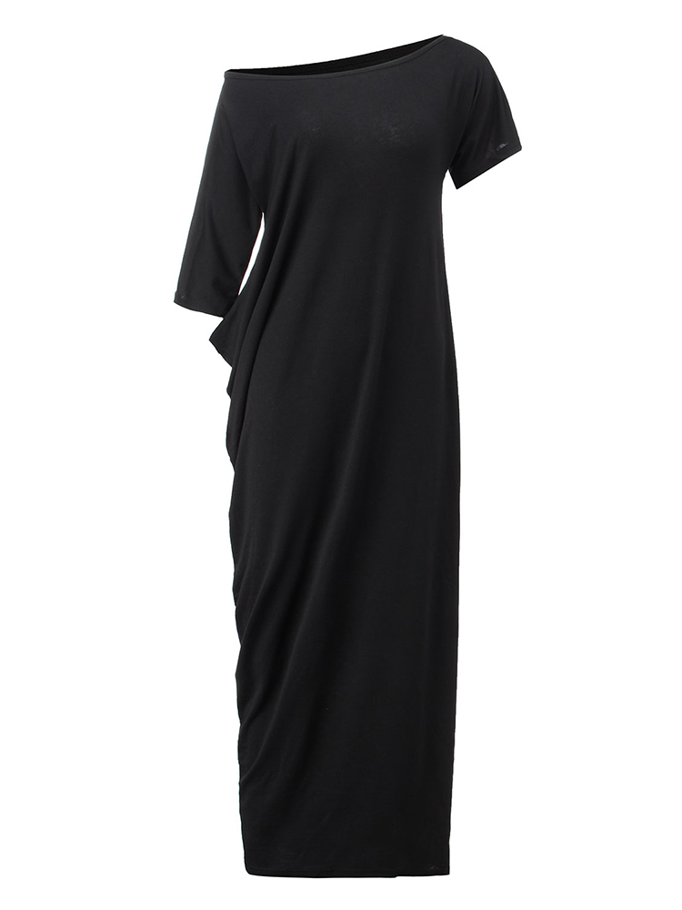 Casual Loose Women One Shoulder Pure Color Batwing Sleeve Maxi Dresses