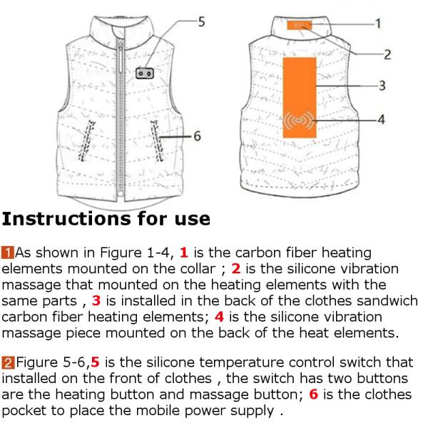 Electric Heated Vest USB Power Supply Warm Massage Waterproof Riding Coat S/M/L/XL