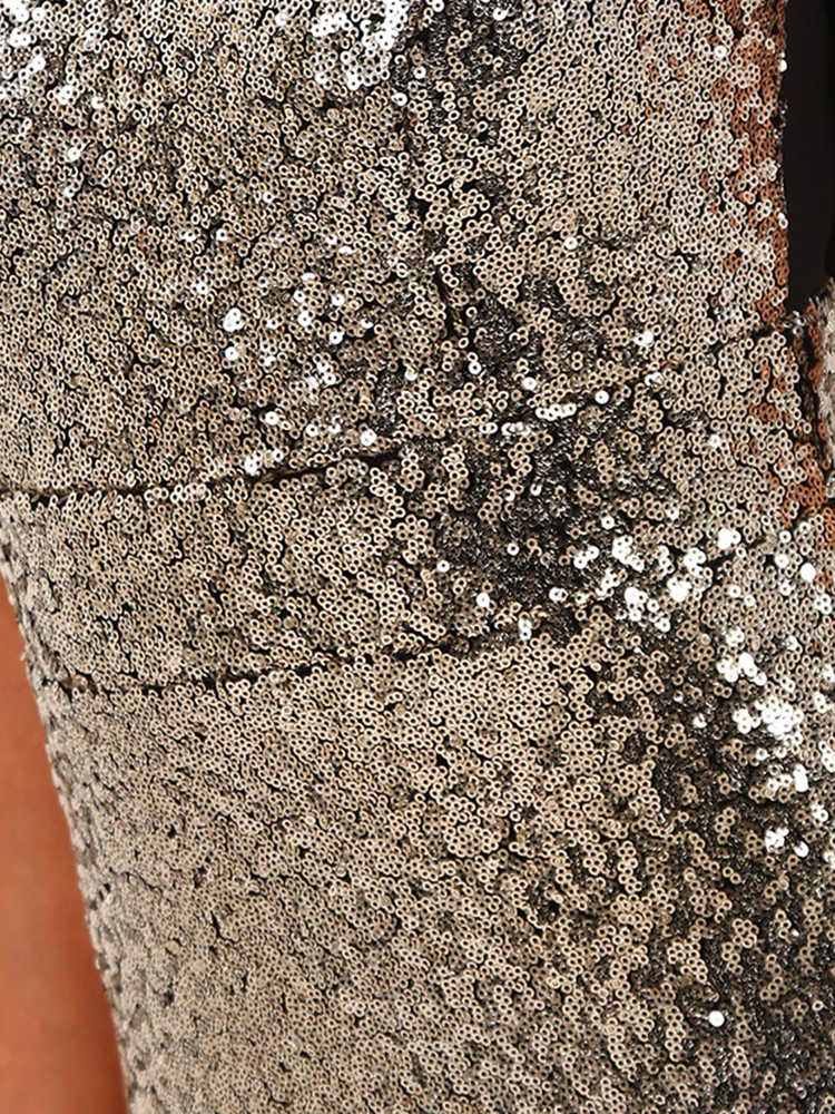 Women Sleeveless Sequins Zipper Slim Gold Silver Pencil Party Dresses