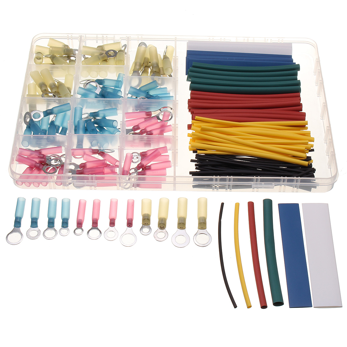 SOLOOP 220pcs Assorted Electrical Crimp Terminal Connector+Heat Ahrinkable Box Kit