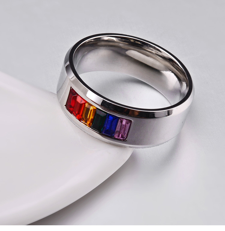 Trendy Stainless Steel Finger Ring Rainbow Rhinestone Ring Wholesale for Men