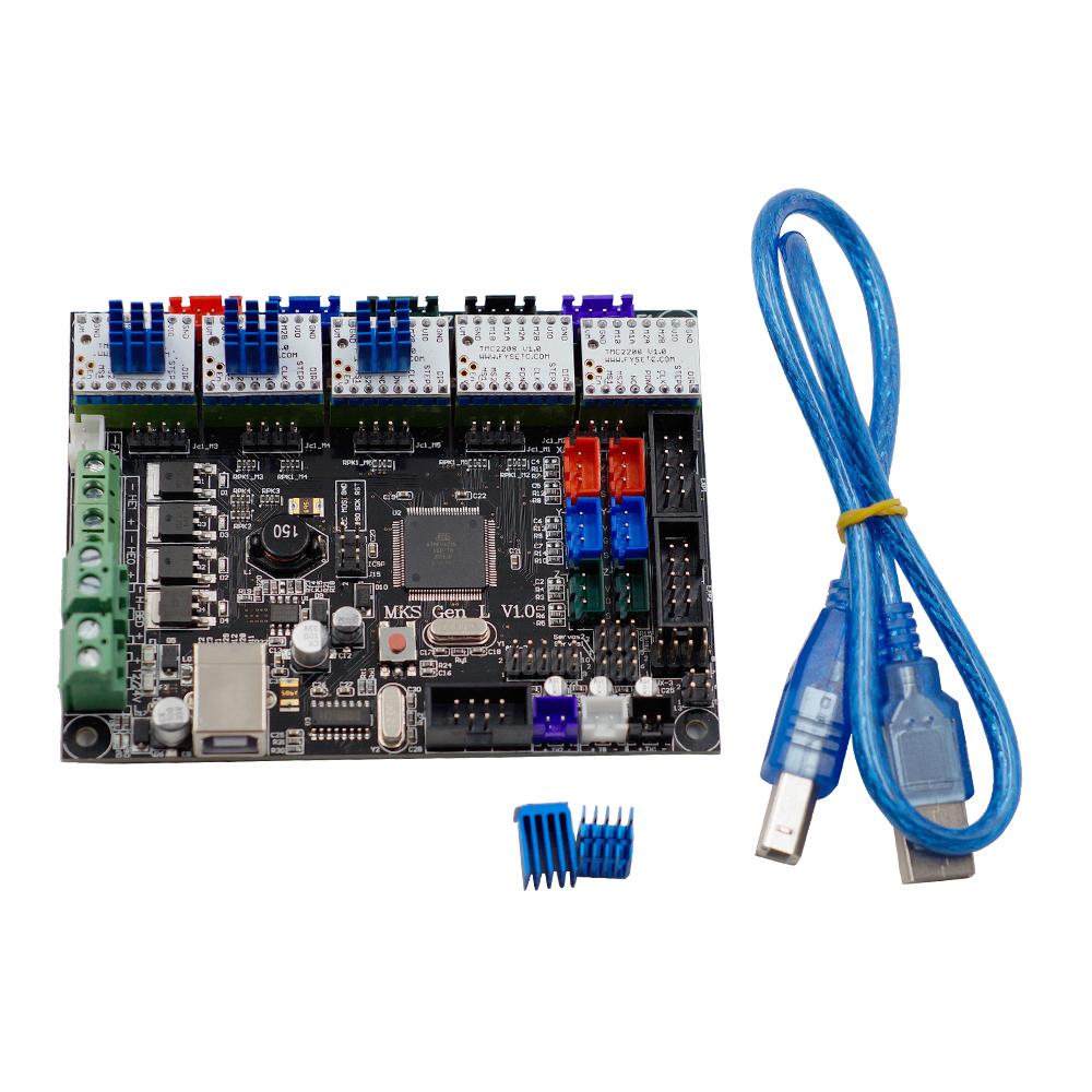 MKS-GEN L V1.0 Integrated Controller Mainboard + 5pcs TMC2208 V1.0 Stepper Motor Driver Compatible Ramps1.4/Mega2560 R3 For 3D Printer