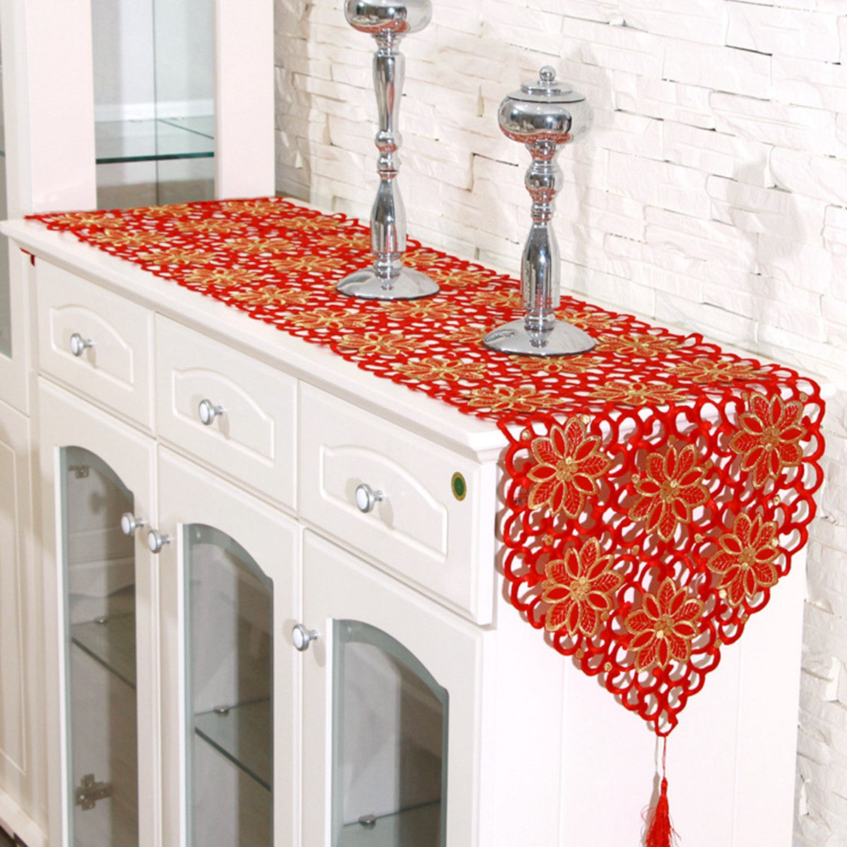 Red Flower Vintage Table Runner Tablecloth Flag With Tassel Home Wedding Party Decor