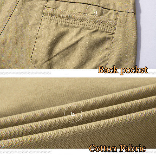 Summer Men's Casual Shorts Pants Solid Color Multi Pockets Leisure Cotton Cargo Shorts