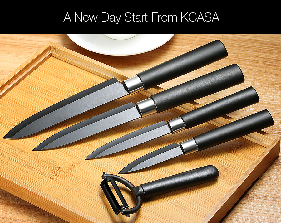 KCASA KC-CF007 Black Ceramic Knife Sets Kitchen Cutlery Rust Proof Chef Knife Slicer Peeler Cutter